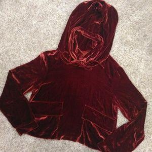 Velvet crop hoodie